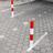 Neerklapbare antiparkeerpaal rood/wit (in maaiveld/bestrating)