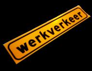 Magneetbord 500x100mm reflecterend geel FLUOR 'WERKVERKEER'