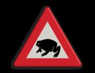 Informatiebord - waarschuwing  overstekende padden