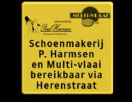 Tekstbord WIU geel/zwart 5 regelig + logo