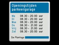 Informatiebord blauw/wit/zwart Plantago