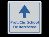 Informatiebord schoolplein wit/blauw - De Borchstee - pijlfig.