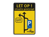 Verkeersbord situatie gewijzigd - UIT - E9 zone kiss&ride - België