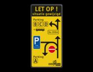 Verkeersbord situatie gewijzigd - Parking ABCD - C1 - E9 zone kiss&ride - België