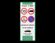 Verkeersbord 400x1000x28mm met 4 verkeerstekens + pictogrammen
