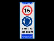 Verkeersbord - Deurbord 16 jaar of ouder