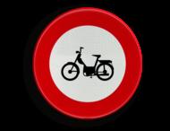 Verkeersbord België C9 - Verboden toegang voor bestuurders van bromfietsen.