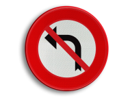 Verkeersbord België C31g - Verbod aan het volgend kruispunt af te slaan in de richting door de pijl aangegeven