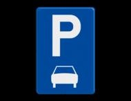 Verkeersbord België E9b - Parkeren uitsluitend voor motorfietsen, personenauto's, auto's voor dubbelgebruik en minibussen