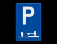 Verkeersbord België E9f - Verplicht parkeren deels op de berm of op het trottoir
