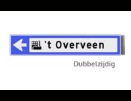 Bewegwijzeringsbord - DUBBELZIJDIG - 800x150x15mm blauw/wit 1 regelig en pijl