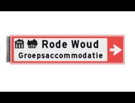 Bewegwijzeringsbord - ENKELZIJDIG - 800x150x15mm RAL3020 2 regelig en pijl
