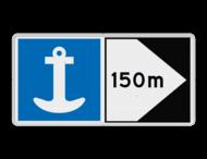 Scheepvaartbord BPR E. 6 + F.2a - Toestemming te ankeren + aan de zijde van de pijl