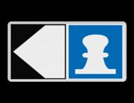 Scheepvaartbord BPR E. 7 + F.2a - Toestemming af te meren aan de zijde van de pijl