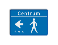 Tekstbord blauw/wit voetgangersroute