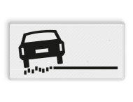 Verkeersbord RVV OB18l - Onderbord - links zachte berm