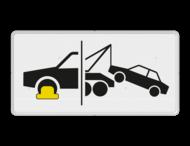 Verkeersbord RVV OB304d - Onderbord - Wielklem- en sleepregeling van kracht