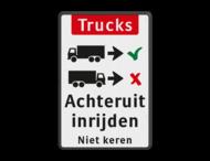 Informatiebord - vrachtwagens achteruit inrijden