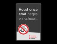 Mottobord aluminium - Houd onze stad schoon + logo