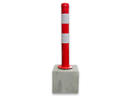 Parkeerpaal Ø89x750mm met betonvoet 295x295x350mm - afneembare uitvoering