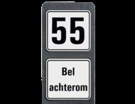 Huisnummerpaal met BORD Modern met tekst - klasse 3