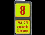 Huisnummerpaal met BORD Fluor Modern met tekst - klasse 3