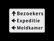 Routebord 3 regelig + pijl links - eigen tekst
