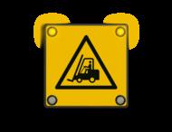 Waarschuwingsbord met veiligheidspictogram NEN7010 + 12V LED hoeklampen