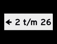Huisnummerbord vlak 300x100mm - reflecterend klasse 3