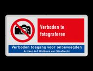 Verbodsbord P029 - Verboden te fotograferen + verboden toegang
