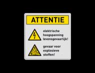 Waarschuwingsbord W012 + W002 - Gevaar voor hoogspanning en explosieve stoffen
