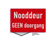 Brand bord NOODDEUR vrijhouden | rood/wit