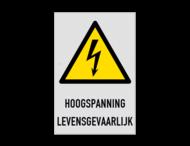 Waarschuwingsbord W012 - HOOGSPANNING LEVENSGEVAARLIJK