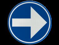 Verkeersbord België D1b-rechts - Verplicht rechts afslaan