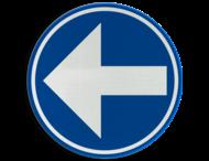 Verkeersbord België D1b-links - Verplicht links afslaan