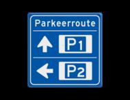 Bewegwijzering Parkeerroute 2 richtingen - vierkant