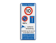 Parkeer-/Informatiebord Eigen Terrein met diverse symbolen & teksten