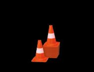 Afzetkegel/pylon 200mm - set van 10 stuks - oranje/wit