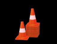 Afzetkegel/pylon 300mm - set van 10 stuks - oranje/wit