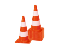 Afzetkegel/pylon 500mm - set van 10 stuks - oranje/wit