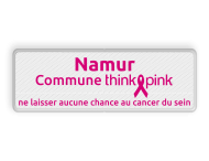 Naambord Commune ThinkPink.be - wit - magenta in huisstijl
