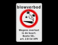 Informatiebord Blowverbod - met boete