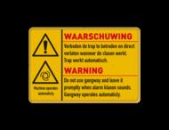 Waarschuwingsbord 3:2 geel/zwart W001 - 2 talig