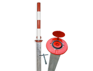 Inzinkbare antiparkeerpaal rood/wit (handbediening)