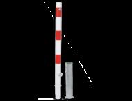 Antiparkeerpaal Ø60mm rood/wit, AFNEEMBAAR - in bestrating