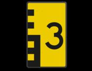 Scheepvaartbord BPR G. 5.1 - 600x1000mm - Hoogteschaal zwart/geel