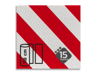 Reflecterende folie met banen wit/rood Klasse 3