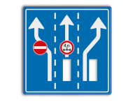 Route-, informatiebord 1180x1180 met uitsparingen voor 2x verkeerslicht - 2xø100mm