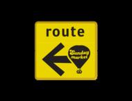 Verkeersbord WIU geel/zwart Sunday Market - 300x300mm - mini