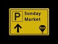 Verkeersbord WIU geel/zwart Sunday Market